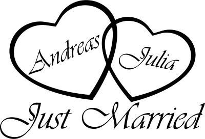 30cm Just Married Hochzeit Ringe Autoaufkleber Aufkleber Just Married No.11