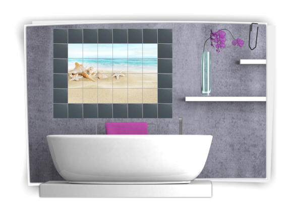 Autocollants pour carrelage fresque en carreaux adh sifs salle de bain film - Carrelage plastique adhesif ...