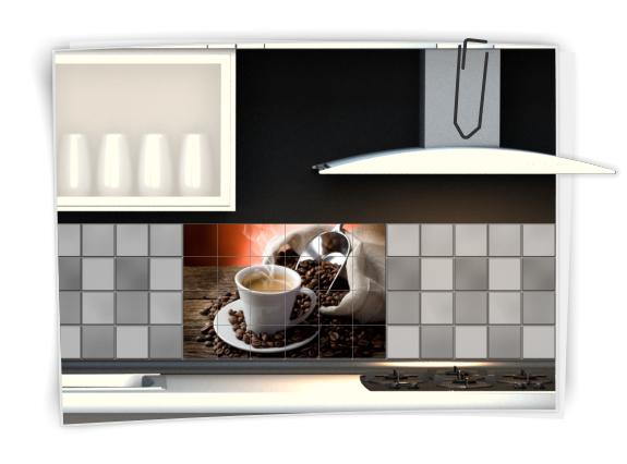 fliesenaufkleber fliesenbild fliesen aufkleber sticker kaffee pause k che bild. Black Bedroom Furniture Sets. Home Design Ideas