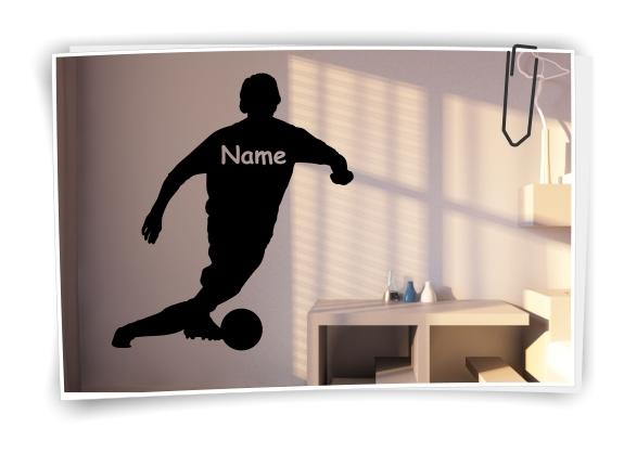 Fussball Wandtattoo Kinderzimmer Fussballspieler Wunschname Aufkleber No.2