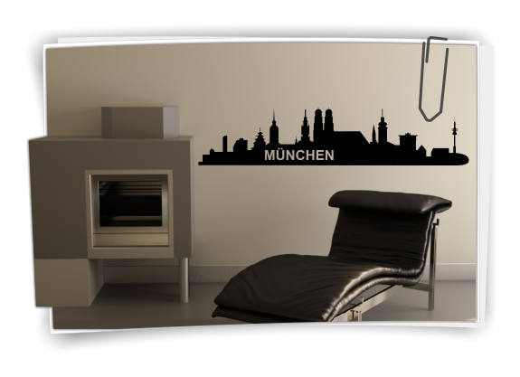 xxl wandtattoo skyline m nchen wandaufkleber aufkleber. Black Bedroom Furniture Sets. Home Design Ideas