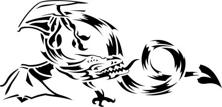 dragon drache wandtattoo wandfolie wandaufkleber aufkleber tattoo banner wand 16. Black Bedroom Furniture Sets. Home Design Ideas