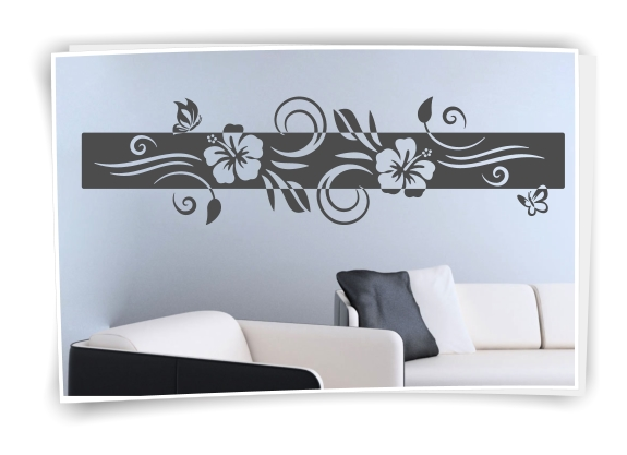 xxl wandtattoo banner blumen ranke wandaufkleber aufkleber. Black Bedroom Furniture Sets. Home Design Ideas