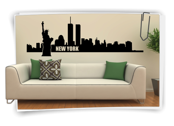 Xxl wandtattoo skyline new york usa wandaufkleber for Usa zimmer deko